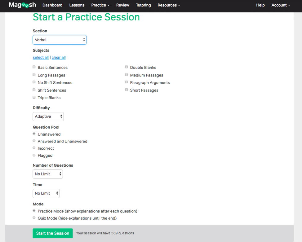 magoosh gre customizable practice sessions