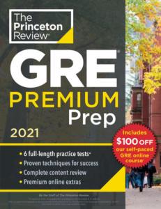 the princeton review GRE prep book 2021