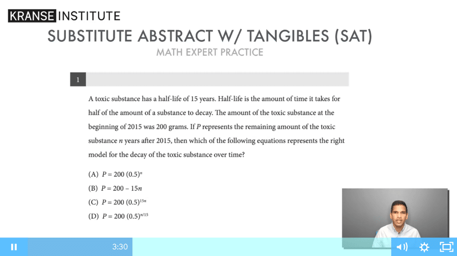 kranse institute SAT practice questions