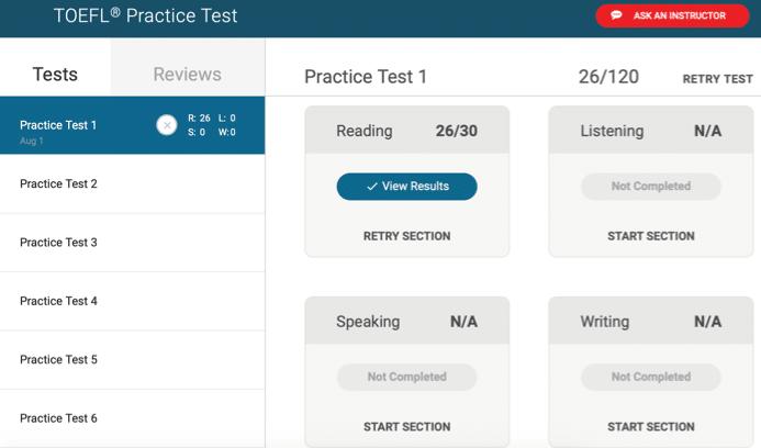 bestmytest TOEFL practice exams