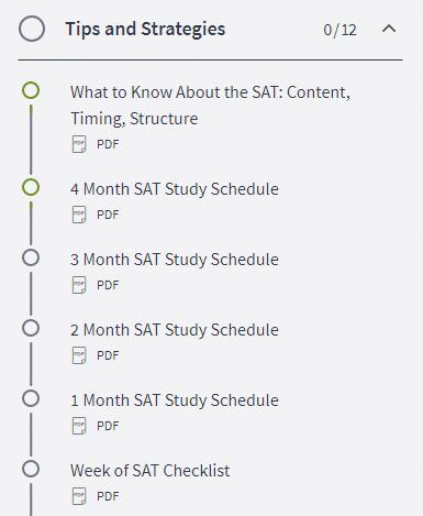 Olive Book SAT Study Schedules