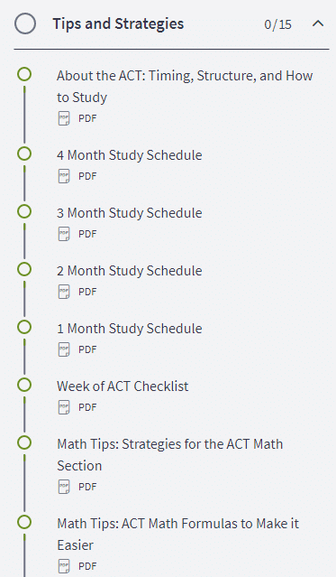Olive Book Study Schedules ACT