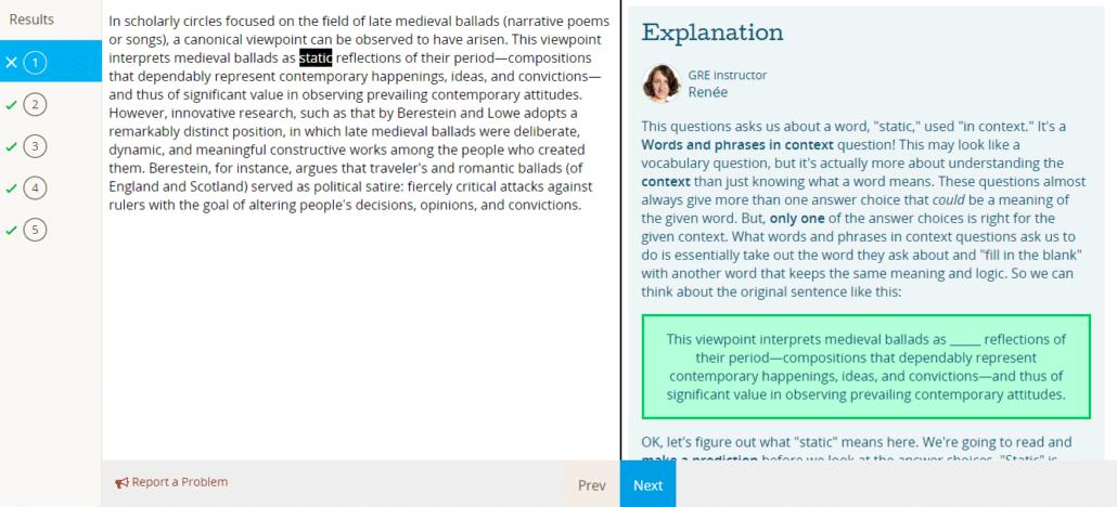 Prep Scholar GRE Incorrect Explanation