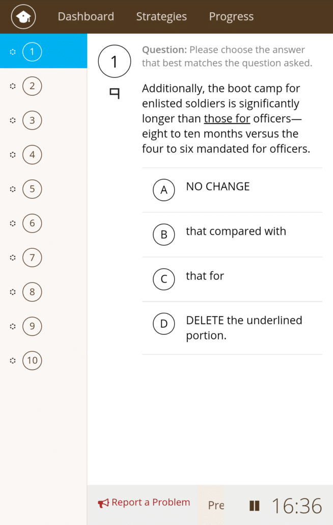 PrepScholar Mobile experience