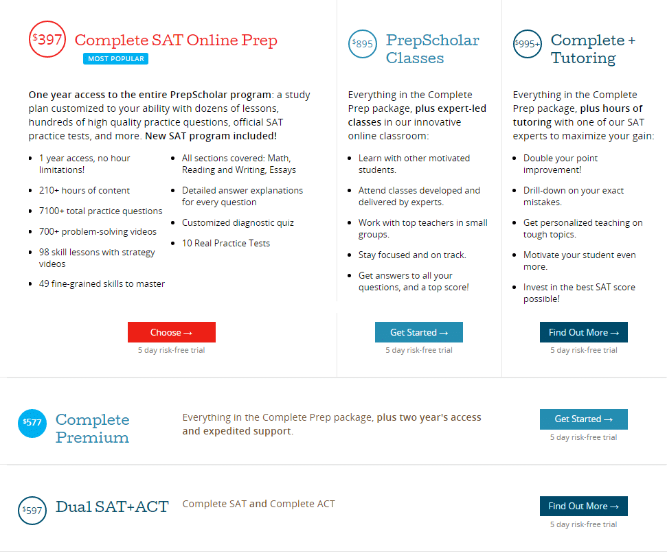 PrepScholar SAT Course Options