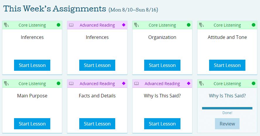 PrepScholar TOEFL Weekly Assignments