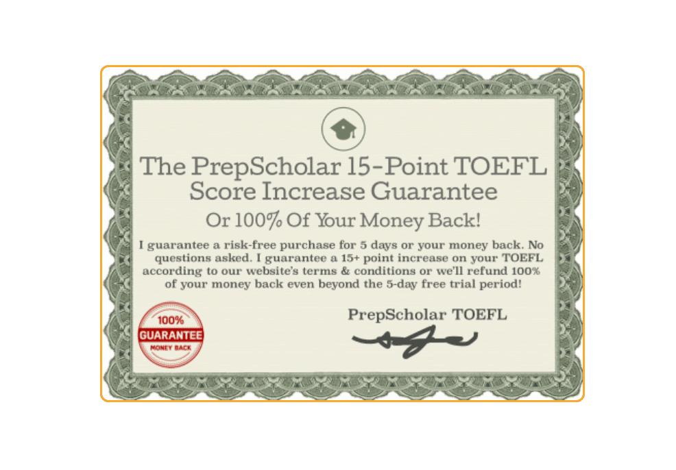 PrepScholar TOEFL guarantee
