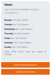SAT Instructor Office Hours
